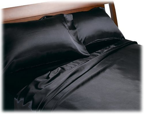 Cheapest Prices! Divatex Home Fashions Royal Opulence Satin Cal King Sheet Set, Black