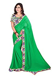 Fashion205 Women Chiffon Saree (TOK-AR7-1028_Green_Green_Free Size)