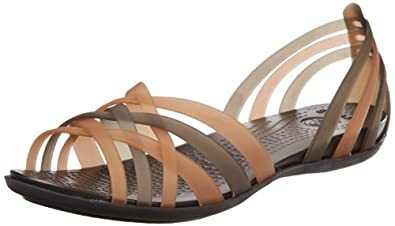 Crocs Women's 14121 Huarache Flat, Bronze/Espresso, 4 M US