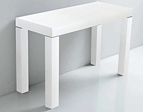 Arredinitaly - Extendible Console Table, 90 x 50 cm to 90 x 300 cm(Seats up to 12) Open Pore Worn White Finish