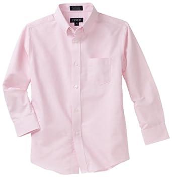 Izod Kids Big Boys' Long Sleeve Solid Buttondown Dress Shirt, Medium Pink, 08 Regular