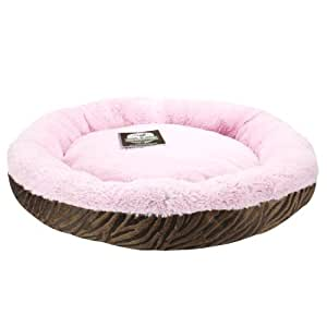Precious Tails Ultra Soft Fur Padded Pet Bed / Dog Bed / Cat Bed with Animal Print (Brown/Pink, Zebra)