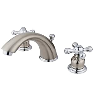Kingston Brass Kb977x Victorian Widespread Lavatory Faucet With Cross Handle Satin Nickel And