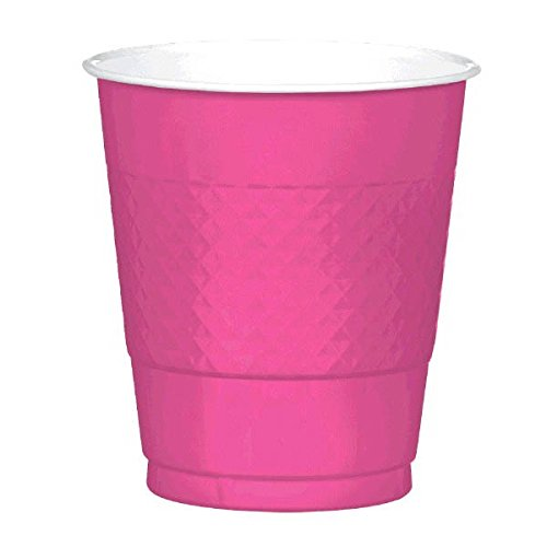 Amscan Party Ready Reusable Plastic Cups (20 Piece), Bright Pink, 3.6 x 3.8""