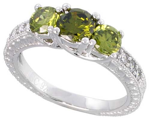 Sterling Silver Vintage Style Engagement ring, w/ two 4mm (.25 ct) & one 5mm (.5 ct) Round Peridot-colored CZ Stones, 3/16″ (5mm) wide, size 8