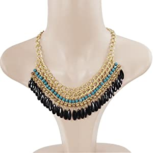 World Pride Vintage Fashion Lots Layered Gem Beads Tassel Bib Choker Necklace