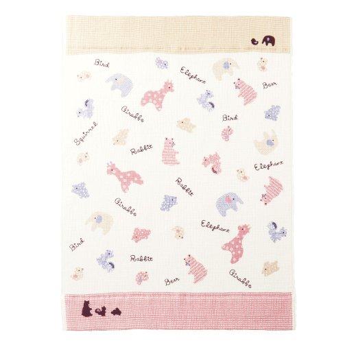 西川産業 babypuff アニマルスクラップ ガーゼケット ピンク LFR5501890-P LA1510