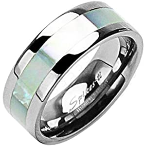 Size 12-Spikes Titanium Wide Band Mother of Pearl Inlay Ring