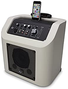 KitSound Kingston Rechargeable Portable Bluetooth Wireless PA Speaker System with MFI Approved Lightning Connector Dock for iPhone 5/5S/5C/6/6 Plus, iPad 4th Generation/Air/Mini, iPod Nano 7th Generation and iPod Touch 5th Generation - White