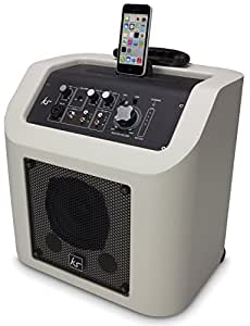 KitSound Kingston Rechargeable Portable Bluetooth Wireless PA Speaker System with MFI Approved Lightning Connector Dock for iPhone 5/5S/5C/6/6S/6 Plus/6S Plus, iPad 4th Generation/Air/Mini, iPod Nano 7th Generation and iPod Touch 5th Generation - White