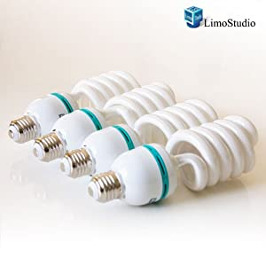 LimoStudio Full Spectrum Light Bulb- Four 45W Photography Photo CFL 6500K - Daylight balanced pure white light by LimoStudio, AGG874