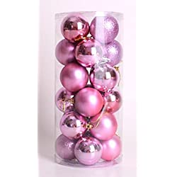 Store Decorative Exquisite Shatterproof Balls Christmas Tree Ornaments / Decoration 24 Pcs Decor Ball (4 cm) (Christmas ball light ball-Pink)