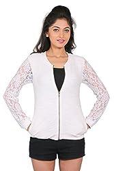 LondonHouze Lace Full Sleeves Zipper (Large, White)