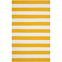 Safavieh Montauk Collection MTK712A Hand Woven Yellow and Ivory Cotton Area Rug, 6 feet by 9 feet (6\' x 9\')