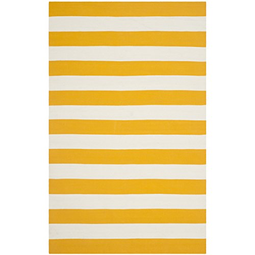 Safavieh Montauk Collection MTK712A Hand Woven Yellow and Ivory Cotton Area Rug, 4 feet by 6 feet (4' x 6')