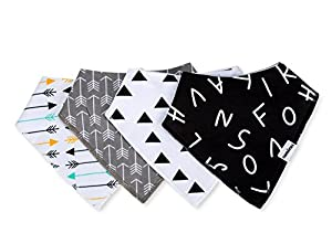 Baby Bandana Drool Bibs with Snaps For Boys & Girls Drooling and Teething, Unisex Set of 4 Absorbent Cotton Baby Gift Dribble Bibs By CAMIRUS (Black/White/Gray) from CAMIRUS