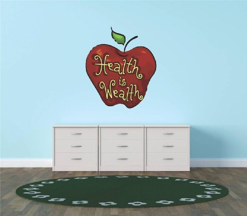 Decal - Vinyl Wall Sticker : Health Is Wealth Kitchen Food Cooking Living Room Bedroom Kitchen Home Decor Picture Art Image Peel & Stick Graphic Mural Design Decoration - Discounted Sale Item - Size : 20 Inches X 20 Inches - 22 Colors Available