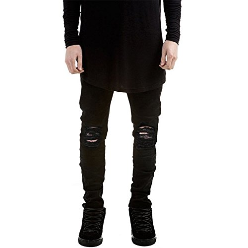 Prettygood Men's Black Straight Biker Ripped Jeans Skinny Denim Trousers Pants 38
