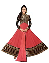 Women's Embroidered Peach & Black Georgette Semi Stitched Suit
