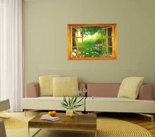 Large 3D Garden View Window Film Wall Stickers art Mural Wallpaper Nursery