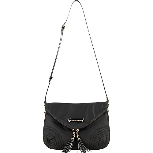 lancaster-paris-nylon-patent-flap-front-messenger-black