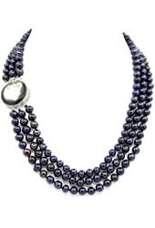 """3-row Black Freshwater Cultured Pearl Necklace with Mother of Tahiti Pearl Clasp(6.5-7.5mm), 19"""", 20""""/21"""""""