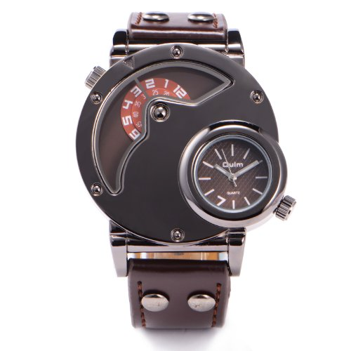 Military Army Style Mens Boys Coffee Leather Sport Quartz Watch For 2 Time Zone + Gift Box