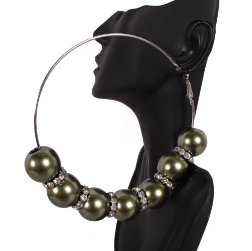 Basketball Wives Green 4 Inch Hoop Earrings with 6 Balls and Iced Out Rondelle Loops Mob Poparazzi