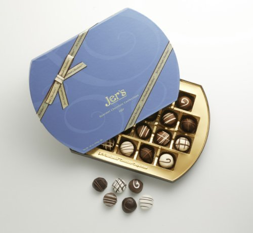 Gourmet Holiday Chocolate Signature 1lb Blue Box, By Jer's Handmade Chocolates