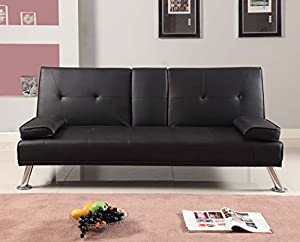 Tinxs Black Modern Faux Leather 3 Seater Sofa Bed With Fold Down Drinks Table
