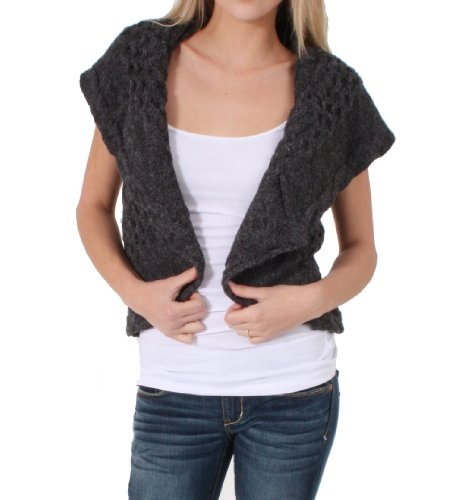 Ci Sono Knitted Shawl Collared Bolero in Charcoal