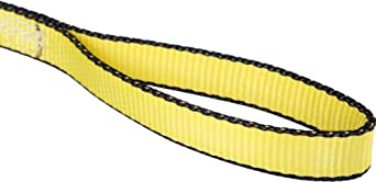 Mazzella EE2 Edgeguard Polyester Web Sling, Eye-and-Eye, Yellow, 2 Ply, Flat Eyes, Vertical Load Capacity