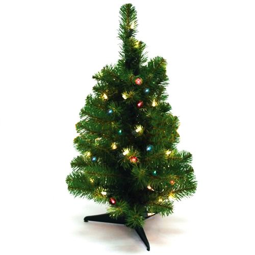 [Christmas Tree 2 FT Artificial Tabletop Christmas Pine Tree Green with Multi Color LED Light] (Real Godzilla Costume)