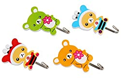 HOKIPO Cute Cartoon Design Plastic Self Adhesive Hooks, Set of 4, Load Capacity upto 3Kg (Random Colors)