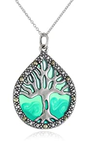 Sterling Silver Marcasite and Blue Epoxy Tree of Life Pendant Necklace, 18