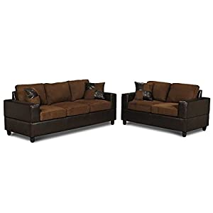 5 piece microfiber and faux leather sofa and