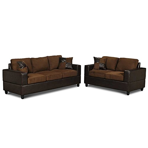 00gad 5 Piece Microfiber And Faux Leather Sofa And Love Seat Living Room Furniture Set Tan And