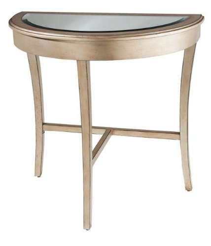 Sale champagne half moon table with mirror top console for Half moon console table