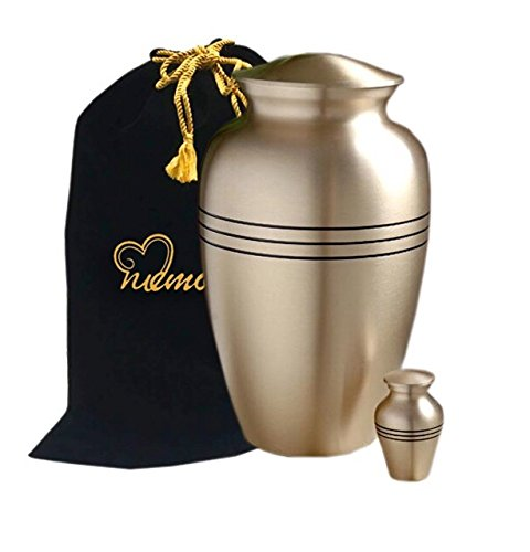 Memorials4u Classic Gold Cremation Urn for Human Ashes - Adult Funeral Urn Handcrafted - Affordable Urn for Ashes - Free Keepsake and Urn Bag (Urns Funeral compare prices)