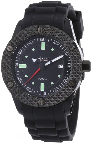 Nautec No Limit Herren-Armbanduhr XL Pollywog Analog Silikon NN-POLL-QZ-RB-PCBK-BK
