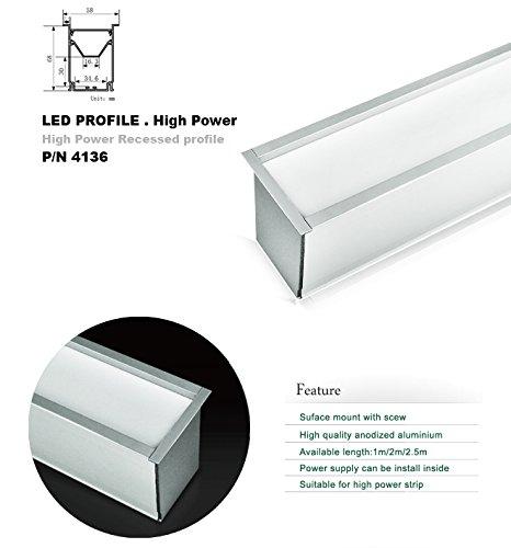 4136 1M/3.3Ft U-Shape Aluminum Channel - Led Aluminum Extrusion For Flex/Hard Led Strip Light White/Milk Cover