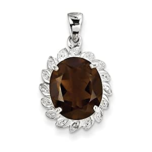 Genuine IceCarats Designer Jewelry Gift Sterling Silver Rhodium Smokey Quartz & Diamond Pendant In Sterling Silver