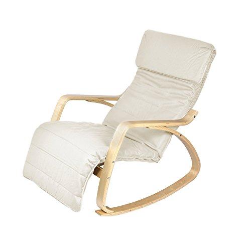 Harima - Sedia a dondolo modello Colmar, reclinabile, con rivestimento lavabile in cotone e poggiapiedi regolabile integrato, colore: bianco naturale