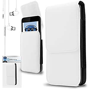 iTALKonline Philips W7555 White PREMIUM PU Leather Vertical Executive Side Pouch Case Cover Holster with Belt Loop Clip and Magnetic Closure Includes White Premium 3.5mm Aluminium High Quality In Ear Stereo Wired Headset Hands Free Headphones with Built in Mic Microphone and On Off Button
