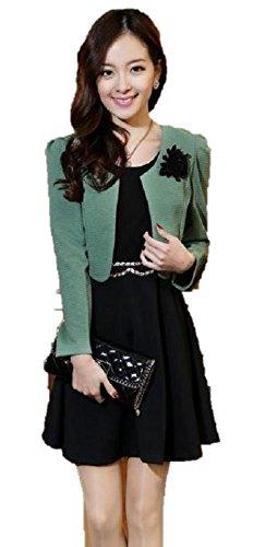 (プレクラースナ) 3シーズン用 ワンピース ドレス & ボレロ ジャケット 超おしゃれな レディス アンサンブル 手提げ袋 セット (XL)