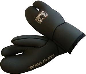 (Medium) Three Finger BODYGLOVE 5mm Winter Wetsuit Gloves. Eco Friendly Surf / Diving Glove / Mit. With Fleece Linning.