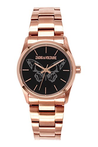 Zadig Voltaire ZV &030/2AMN Rock Women's Watch Analogue Quartz Black Dial Steel Strap-Plated Pink