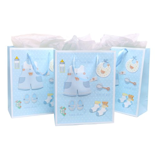 MyGift Teddy Bears Light Blue Boy Baby Shower Gift Bags & Tissues (Set of 3), For Birthday Presents, Christening, Baptisms, Expecting Mothers