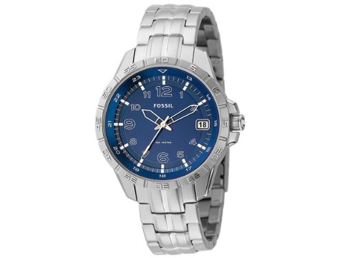 Fossil Men's AM4276 Stainless Steel Date Display Blue Dial Watch