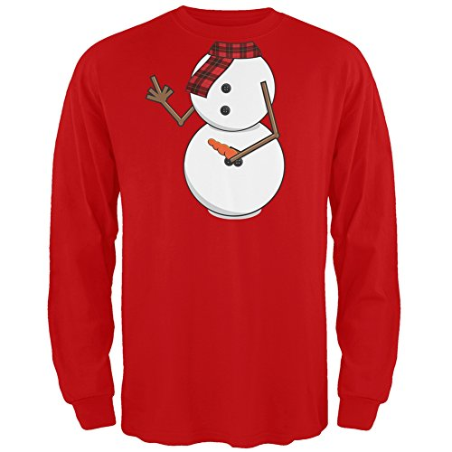 Middle Finger Snowman Body Costume Red Long Sleeve T-Shirt